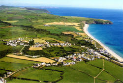 Aerial view of Aberdaron, looking south-west